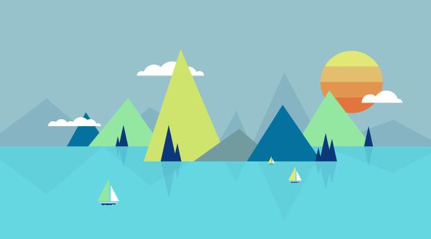HD Wallpaper | Background Image Lake Minimalist
