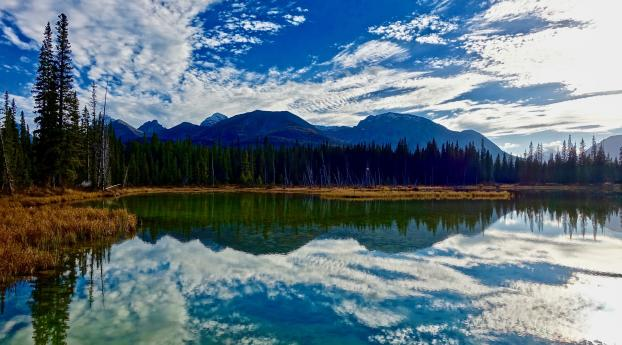 HD Wallpaper | Background Image lake, mountains, clouds