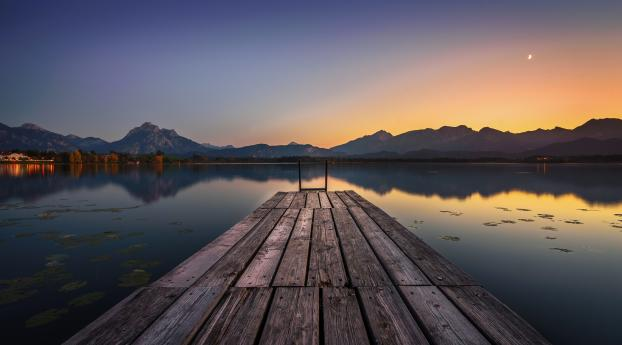 Lake Pier and Mountain Sunset Wallpaper