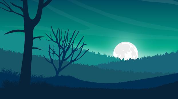 Landscape Moon Digital Evening 5k Wallpaper 240x400 Resolution