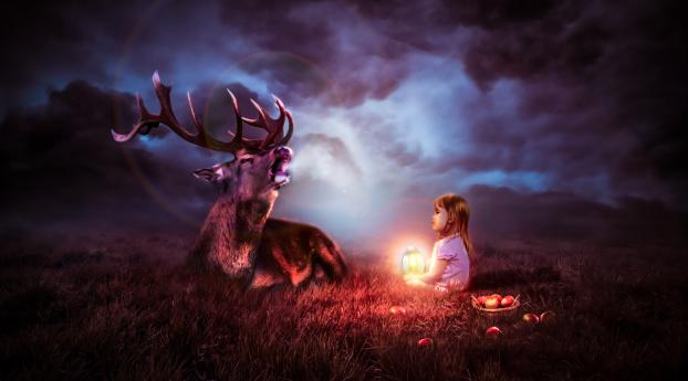 Lantern Child with a Deer in the Night Wallpaper 5120x2880 Resolution