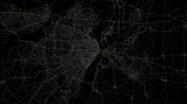 line, black background, route Wallpaper