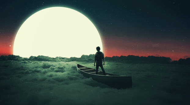 HD Wallpaper | Background Image Lonely Person Silhouette Flying in Moon