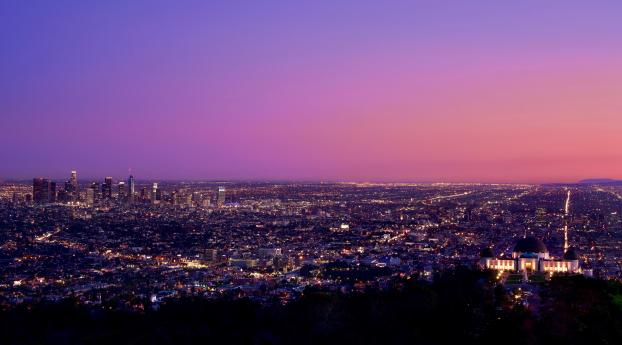HD Wallpaper | Background Image Los Angeles at Night Pink Sky