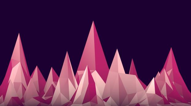 HD Wallpaper   Background Image Low Poly 4K Pink Mountains