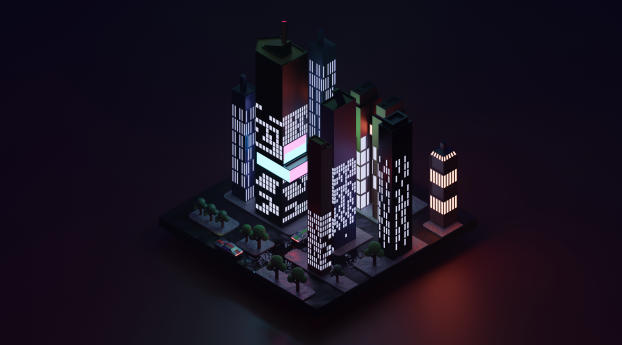 HD Wallpaper | Background Image Low Poly City Block