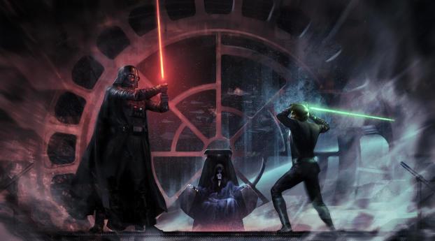 HD Wallpaper | Background Image Luke Skywalker vs Darth Vader Emperor Palpatin