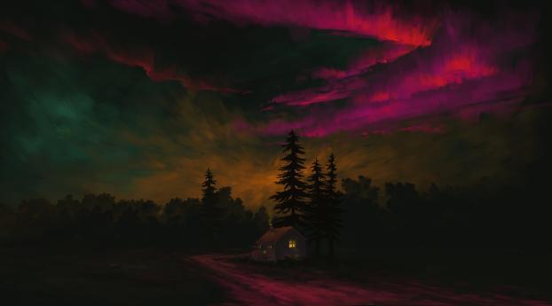 Magenta Aurora Landscape Wallpaper 1440x2560 Resolution