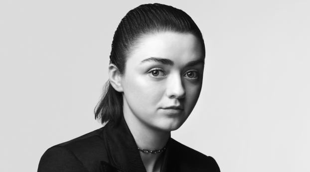 Maisie Williams Monochrome Wallpaper
