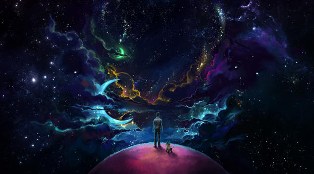 HD Wallpaper | Background Image Man And Dog And Neon Space