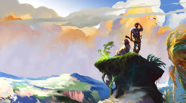 Man and Dog Painting Landscape Wallpaper 320x568 Resolution