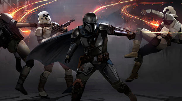 HD Wallpaper | Background Image Mandalorian Stormtrooper Fighting