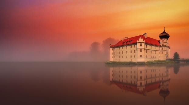 HD Wallpaper | Background Image Mansion Reflection in Lake