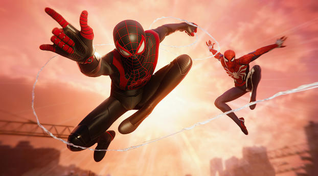 Marvels Spiderman Miles Morales and Parker Wallpaper in 1280x2120 Resolution