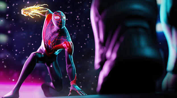 Miles Morales Spider-Man Fire Hand Wallpaper in 540x960 Resolution