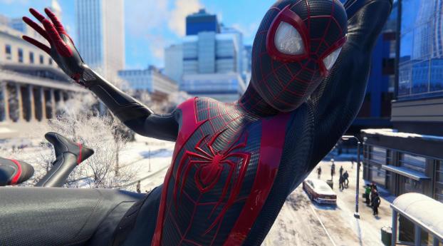 Miles Morales Spider Man Flying Wallpaper