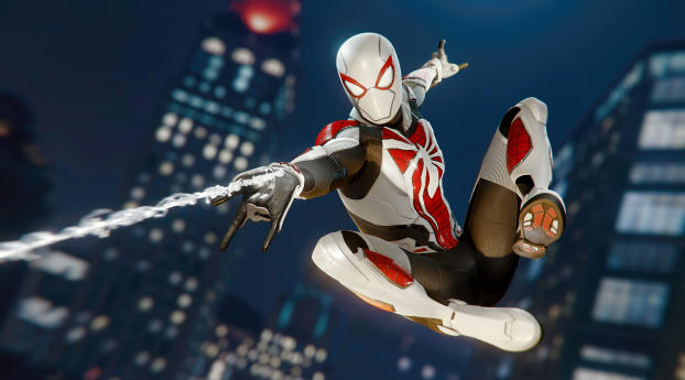 Miles Morales Spider-Man White Suit Wallpaper in 480x854 Resolution