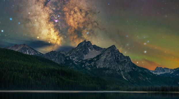Milky Way Over Winter Mountain Lake Wallpaper 2048x2048 Resolution