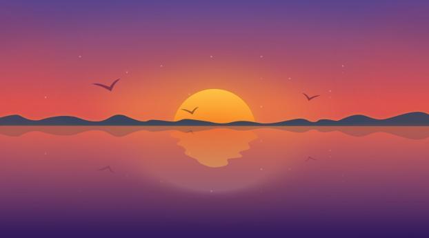 Minimal Reflection Sunset Wallpaper 800x1280 Resolution