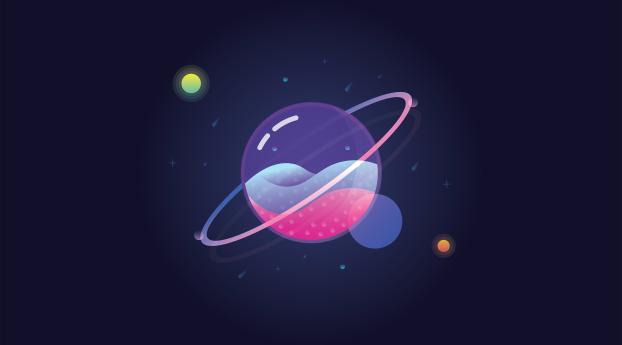 Minimal Saturn Planet Wallpaper