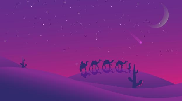 Minimalist Desert Night Camel Walking Wallpaper 240x320 Resolution