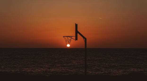 Basketball Court Sunset Wallpaper