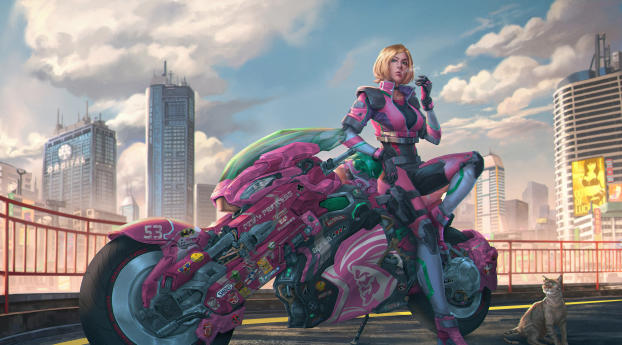 HD Wallpaper | Background Image Motorcycle Cyberpunk Girl