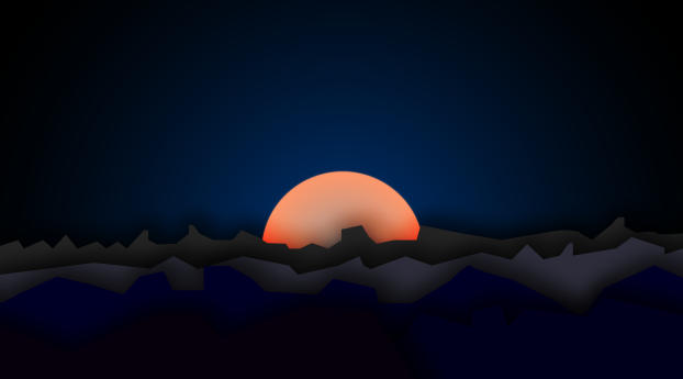 Mountain Sunset Digi Art Wallpaper