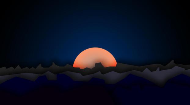 Mountain Sunset Digi Art Wallpaper 1440x2560 Resolution