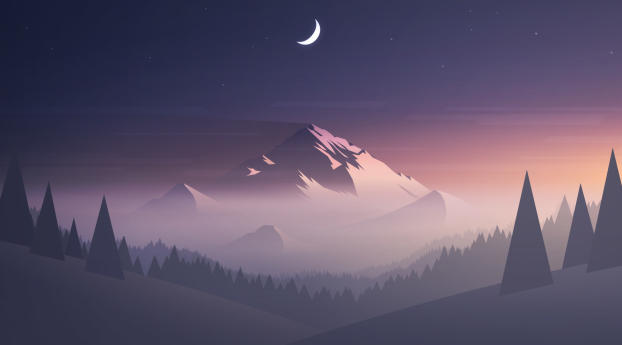 HD Wallpaper | Background Image Mountains Moon Trees Minimal