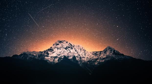 HD Wallpaper | Background Image Mountains Night View in Ghandruk Nepal