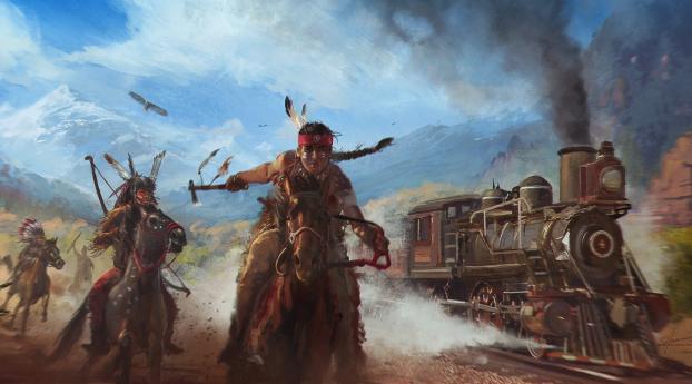 Native American Train Chasing Art Wallpaper