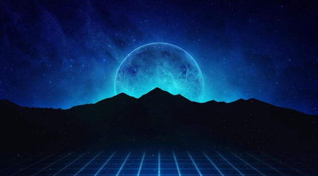Neon Retrowave Hills Wallpaper