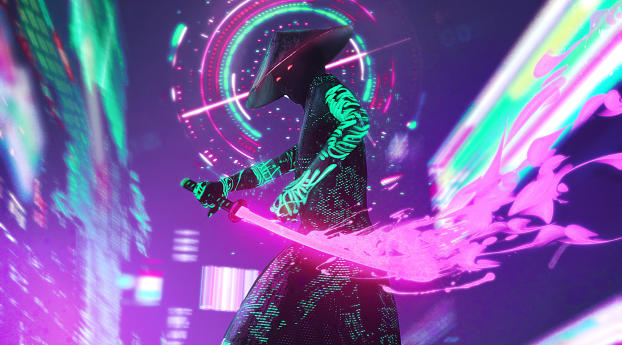 1242x2688 Neon Samurai Cyberpunk Iphone Xs Max Wallpaper Hd Artist 4k Wallpapers Images Photos And Background