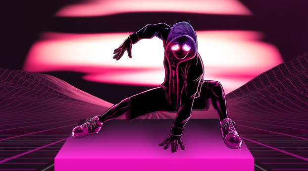 Neon Spider Man 4K Wallpaper in 2560x1024 Resolution