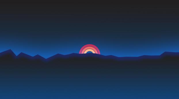 Neon sunset rainbow minimal retro style full hd 2k wallpaper for Minimal art neon