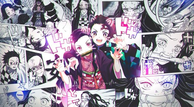 HD Wallpaper | Background Image Nezuko and Tanjirou Manga