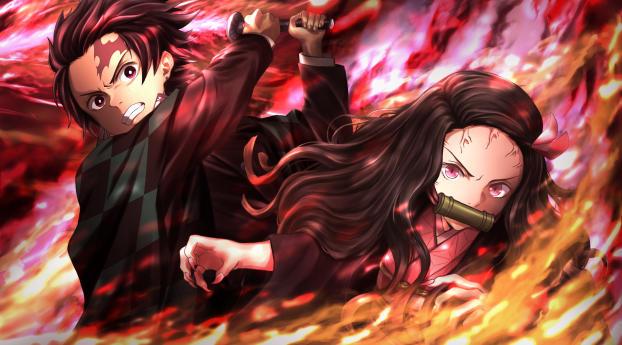 HD Wallpaper | Background Image Nezuko and Tanjirou