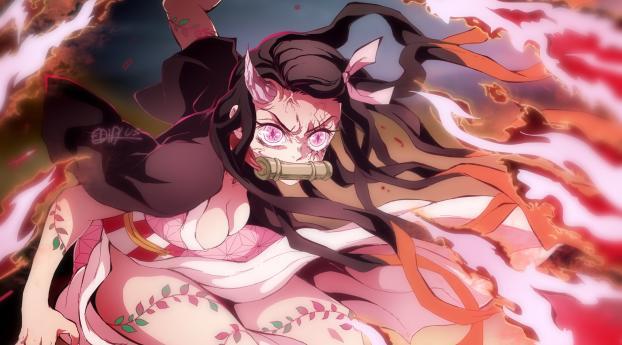 Nezuko Kamado Angry Art Wallpaper 1336x768 Resolution
