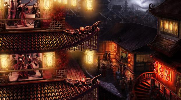 HD Wallpaper | Background Image Night in Chinas Small Town Art