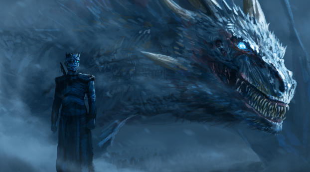 HD Wallpaper | Background Image Night King Blue Eyes White Dragon