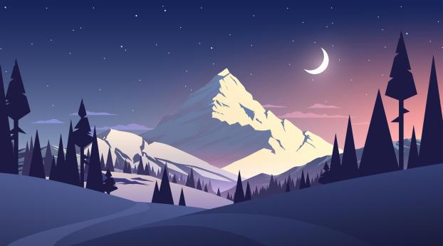 Night Mountains Summer Illustration Wallpaper 5120x2880 Resolution