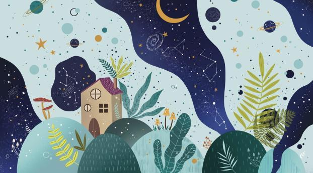 Night Scape Digital Cool Art Wallpaper