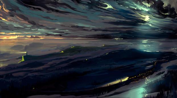 HD Wallpaper | Background Image Night Train Illustration 5K