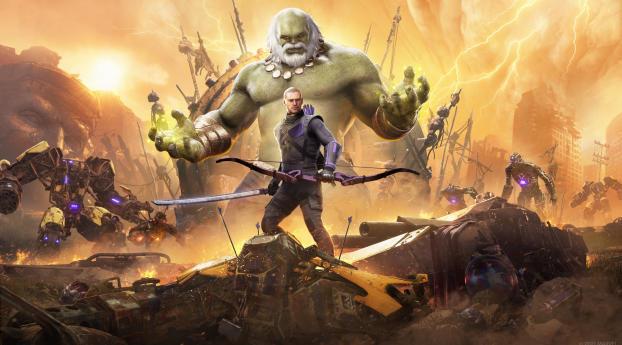 Old Hulk and Hawkeye Marvels Avengers Wallpaper 1125x2436 Resolution