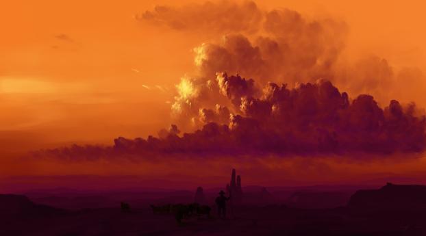 Orange Cloud in Countryside Wallpaper
