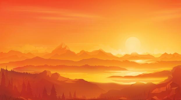 Orange Landscape Morning Minimal Wallpaper 1920x1200 Resolution