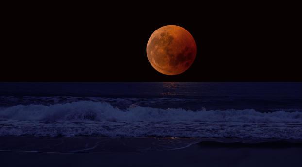 Orange Moon near the Horizon Wallpaper 2560x1080 Resolution