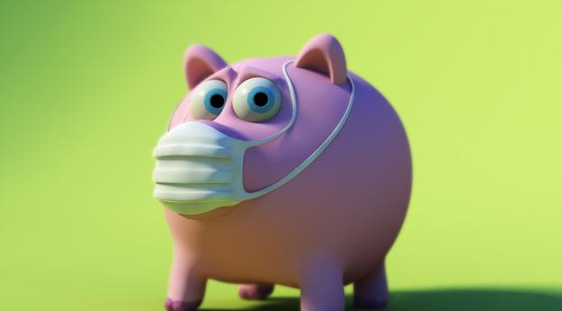 pig, piggy bank,  mask Wallpaper 1360x768 Resolution