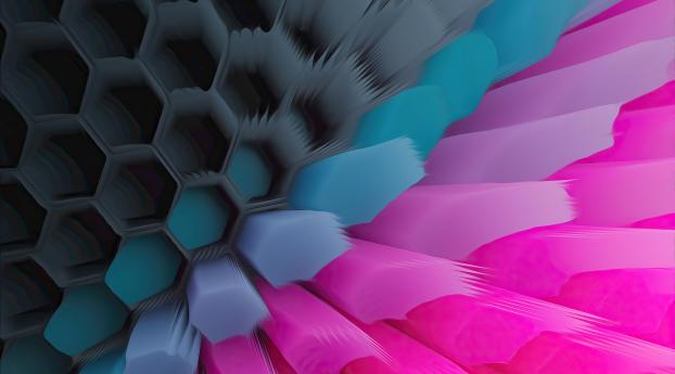 Pink Blue 4K Hexagon Wallpaper